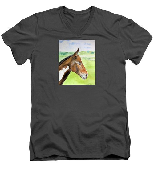 Men's V-Neck T-Shirt featuring the painting Young Cob by Elizabeth Lock