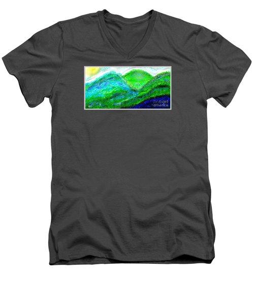 Men's V-Neck T-Shirt featuring the digital art Van Gogh Sunrise by The Art of Alice Terrill