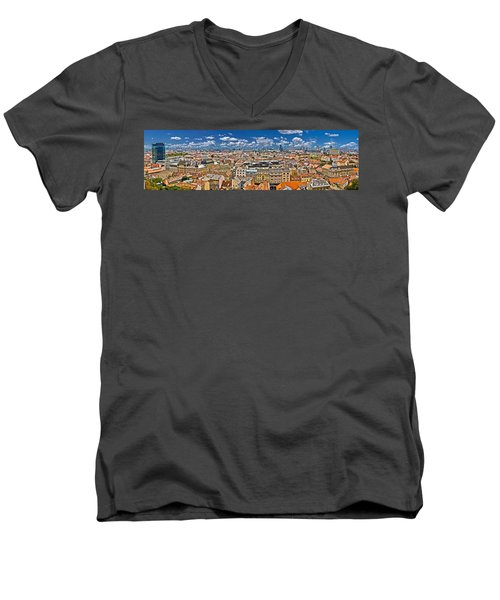 Zagreb Lower Town Colorful Panoramic View Men's V-Neck T-Shirt