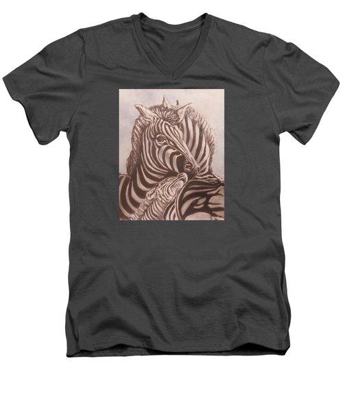 Zebra Family Men's V-Neck T-Shirt