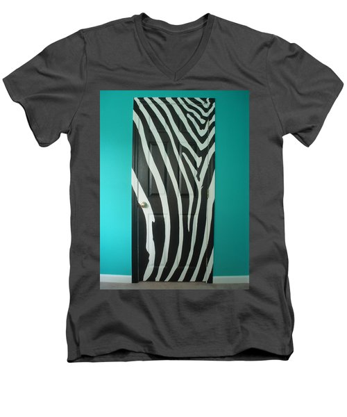 Zebra Stripe Mural - Door Number 1 Men's V-Neck T-Shirt by Sean Connolly