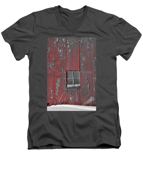 Zink Rd Barn Window Bw Red Men's V-Neck T-Shirt by Daniel Thompson