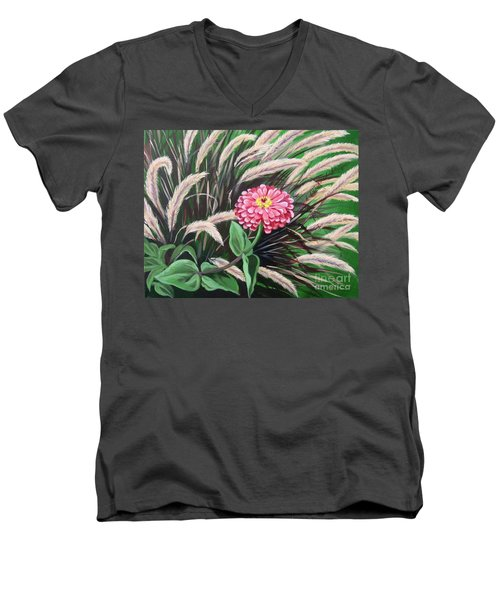Zinnia Among The Grasses Men's V-Neck T-Shirt