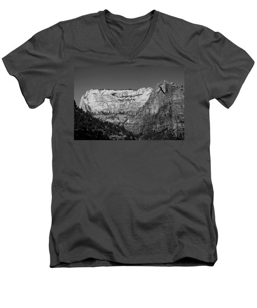 Zion Cliff And Arch B W Men's V-Neck T-Shirt