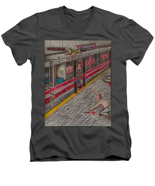 Zombies On The Red Line Men's V-Neck T-Shirt