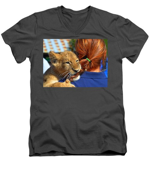 Zootography3 Zion The Lion Cub Likes Redheads Men's V-Neck T-Shirt by Jeff at JSJ Photography