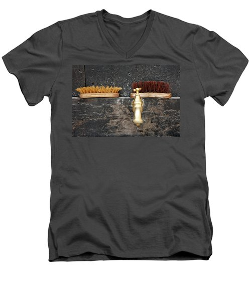 Men's V-Neck T-Shirt featuring the photograph Zuiderzee Brushes by KG Thienemann