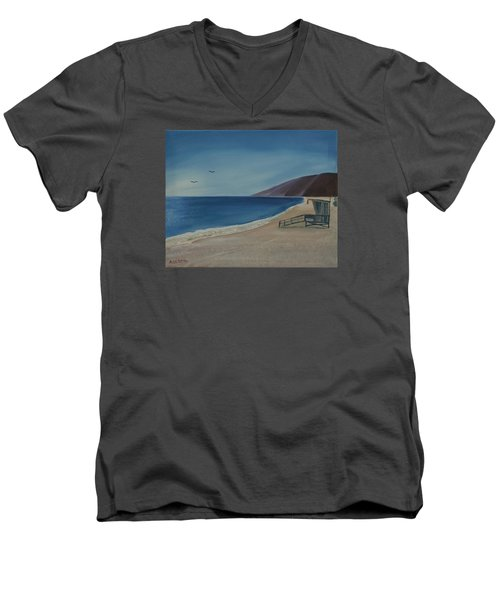 Men's V-Neck T-Shirt featuring the painting Zuma Lifeguard Tower by Ian Donley