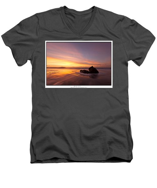 Men's V-Neck T-Shirt featuring the photograph  Atomic Sunset by Beverly Cash