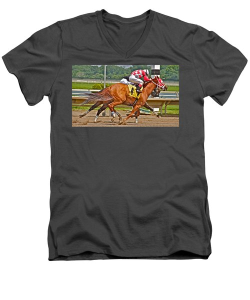 Men's V-Neck T-Shirt featuring the photograph  Betting On Number Four by Alice Gipson