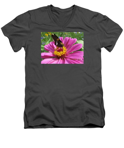 Men's V-Neck T-Shirt featuring the photograph  Butterfly On Pink Flower by Tina M Wenger