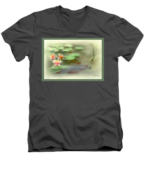 Men's V-Neck T-Shirt featuring the painting  Gold Fish Pond by Bonnie Willis