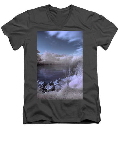 Men's V-Neck T-Shirt featuring the photograph  Infrared Pond by Beverly Cash