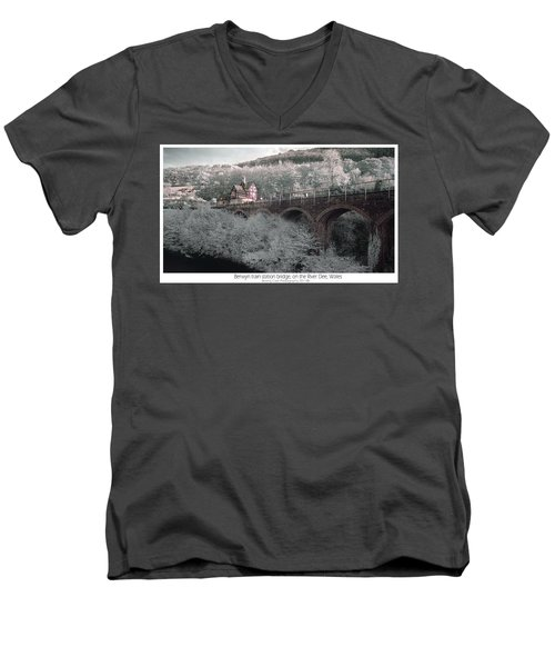Men's V-Neck T-Shirt featuring the photograph  Infrared Train Station Bridge by Beverly Cash