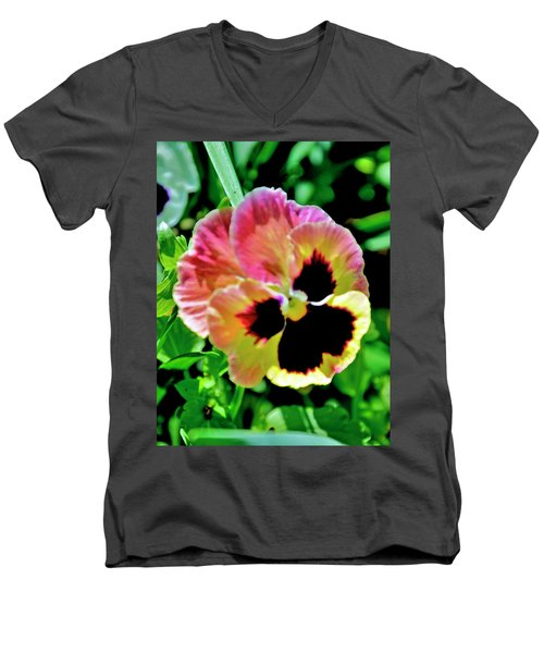 Pink And Yellow Pansy Men's V-Neck T-Shirt