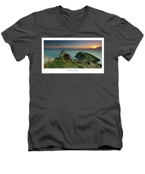 Sunset At South Stack Lighthouse Men's V-Neck T-Shirt