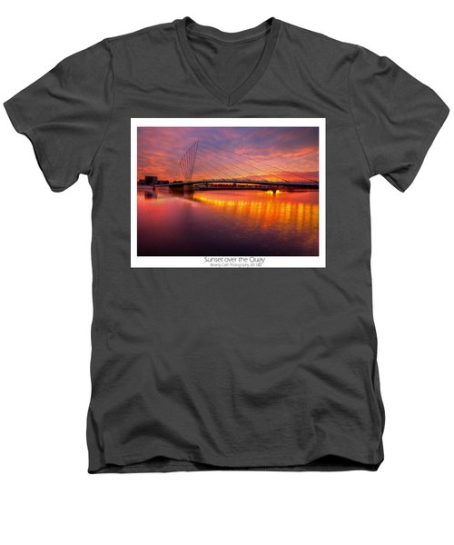Men's V-Neck T-Shirt featuring the photograph  Sunset Over The Quay by Beverly Cash