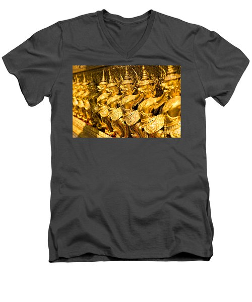 Men's V-Neck T-Shirt featuring the photograph  Wat Phra Kaeo by Luciano Mortula