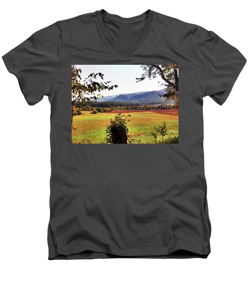 Men's V-Neck T-Shirt featuring the photograph Cades Cove by Janice Spivey