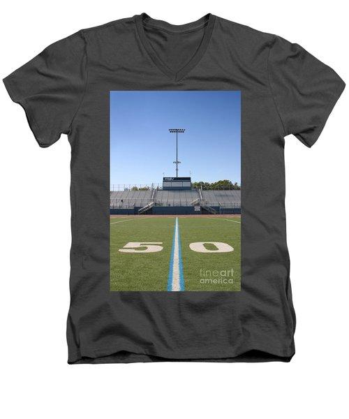 Men's V-Neck T-Shirt featuring the photograph Football Field Fifty by Henrik Lehnerer