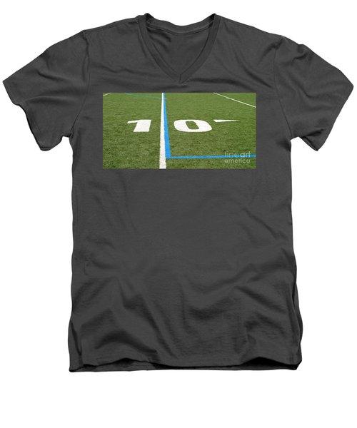 Men's V-Neck T-Shirt featuring the photograph Football Field Ten by Henrik Lehnerer