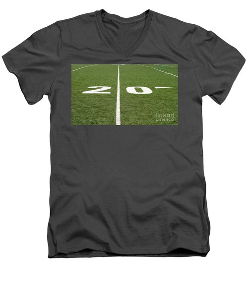 Men's V-Neck T-Shirt featuring the photograph Football Field Twenty by Henrik Lehnerer