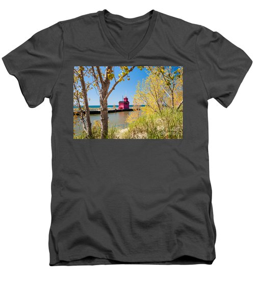 Holland Mi Lighthouse Men's V-Neck T-Shirt