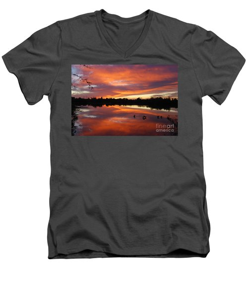 Men's V-Neck T-Shirt featuring the photograph Riparian Sunset by Tam Ryan