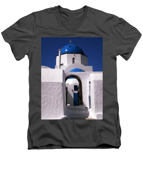 Men's V-Neck T-Shirt featuring the photograph Santorini Church Greece by Colette V Hera  Guggenheim