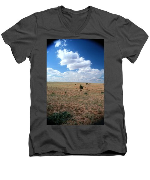 Men's V-Neck T-Shirt featuring the photograph Somewhere Off The Interstate In New Mexico by Lon Casler Bixby