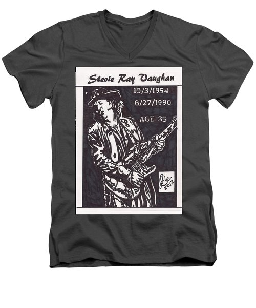 Men's V-Neck T-Shirt featuring the drawing Stevie Ray Vaughn by Jeremiah Colley