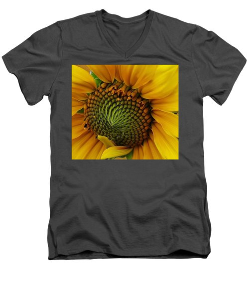 Men's V-Neck T-Shirt featuring the photograph Sunflower Close Up by Bruce Bley