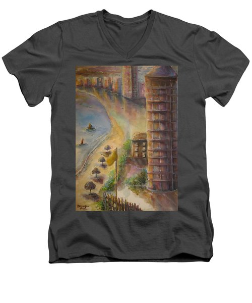 Sunset Beach Men's V-Neck T-Shirt by Bernadette Krupa