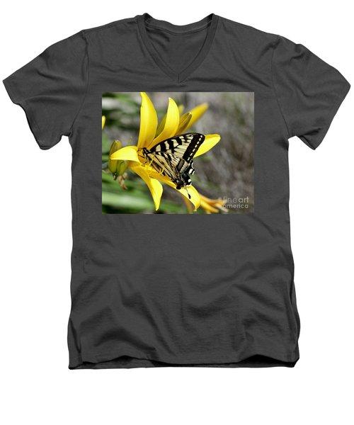 Swallowtail Yellow Lily Men's V-Neck T-Shirt by Diane E Berry