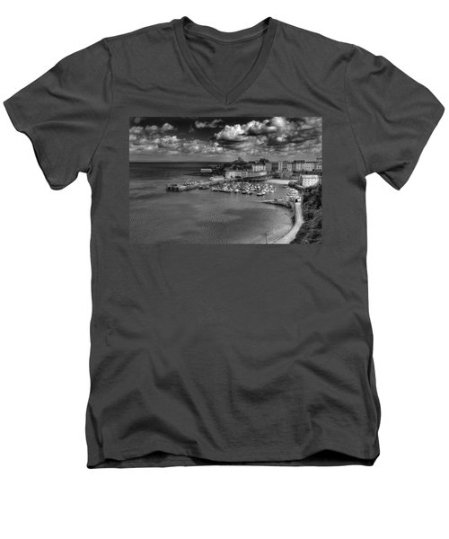 Men's V-Neck T-Shirt featuring the photograph Tenby Harbour by Steve Purnell