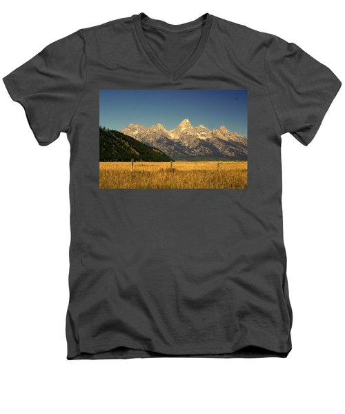 Men's V-Neck T-Shirt featuring the photograph Tetons 3 by Marty Koch