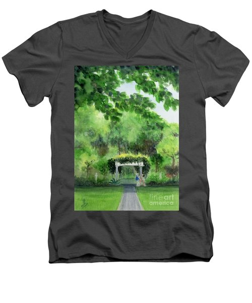 Men's V-Neck T-Shirt featuring the painting the garden at the wellers carriage house in Saline  Michigan 1 by Yoshiko Mishina