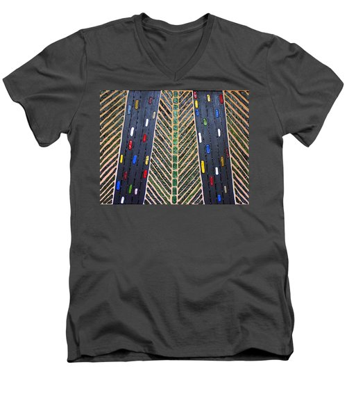 Men's V-Neck T-Shirt featuring the mixed media Traffic by Cynthia Amaral