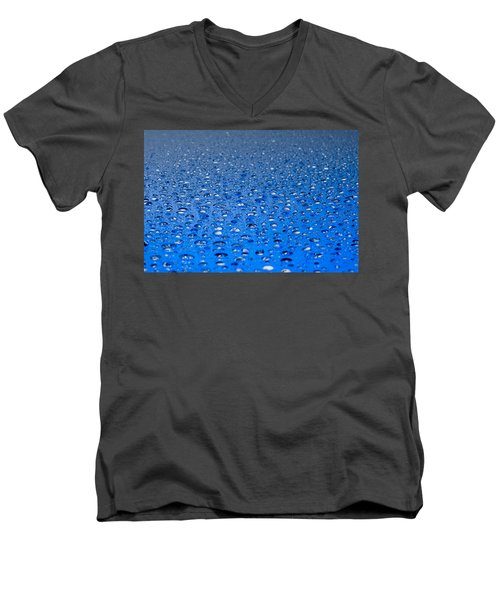 Water Drops On A Shiny Surface Men's V-Neck T-Shirt by Ulrich Schade
