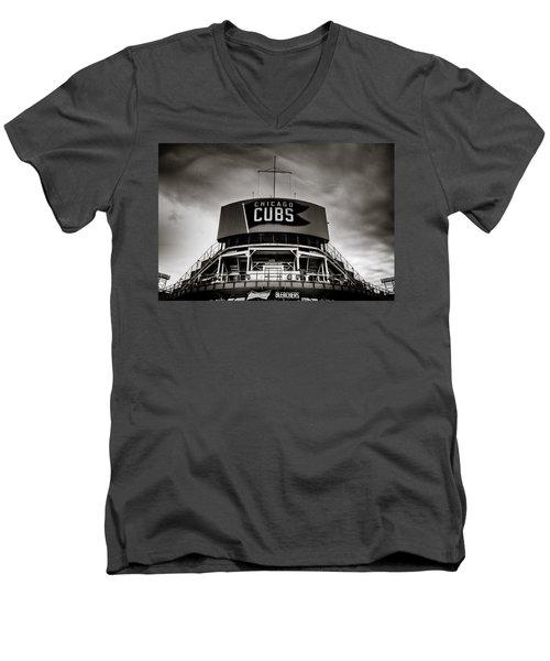 Wrigley Field Bleachers In Black And White Men's V-Neck T-Shirt