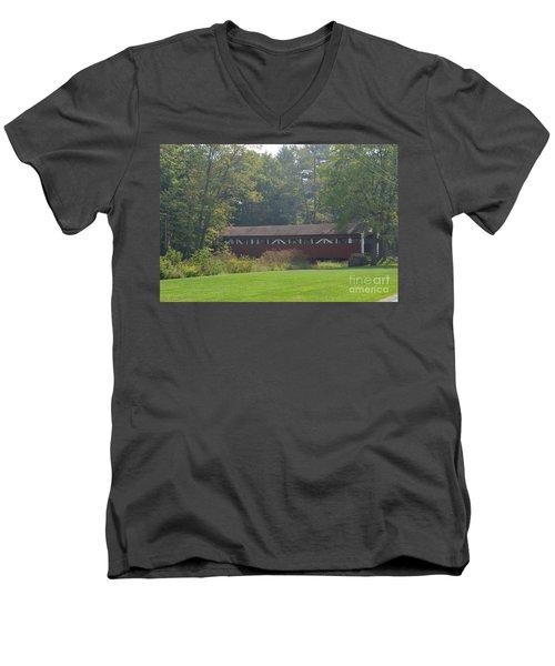 Covered Bridge Men's V-Neck T-Shirt by Randy J Heath