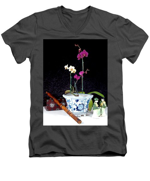 Men's V-Neck T-Shirt featuring the photograph Rendezvous by Elf Evans