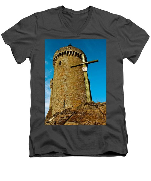 Men's V-Neck T-Shirt featuring the photograph Solidor And Cross by Elf Evans
