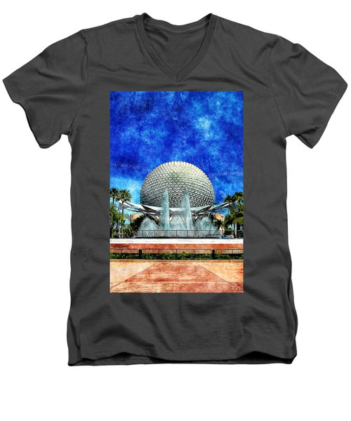 Men's V-Neck T-Shirt featuring the digital art Spaceship Earth And Fountain Of Nations by Sandy MacGowan