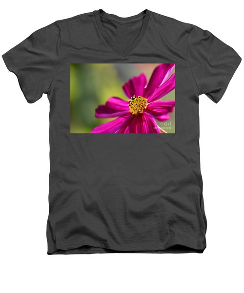 Men's V-Neck T-Shirt featuring the photograph Yellow Dots by Henrik Lehnerer