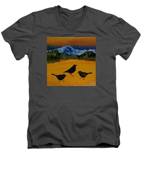 3 Blackbirds Men's V-Neck T-Shirt by Carolyn Doe