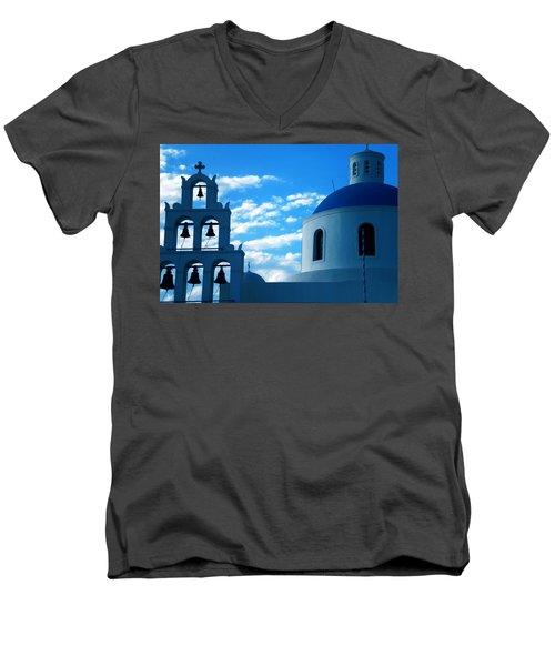 Men's V-Neck T-Shirt featuring the photograph Santorini Greece by Colette V Hera  Guggenheim