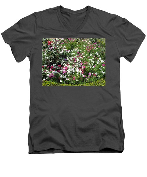 A Bed Of Beautiful Different Color Flowers Men's V-Neck T-Shirt by Ashish Agarwal