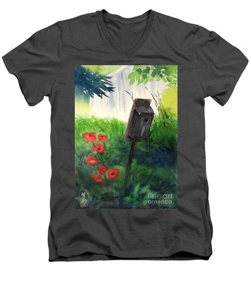 Men's V-Neck T-Shirt featuring the painting A Bird House In The Geddes Farm --ann Arbor Michigan by Yoshiko Mishina
