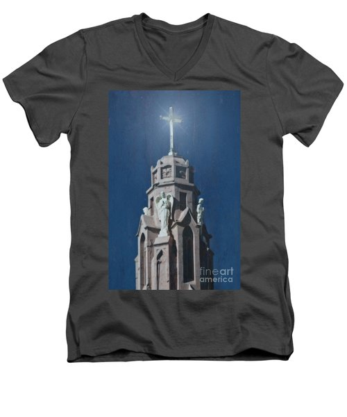 A Church Tower Men's V-Neck T-Shirt